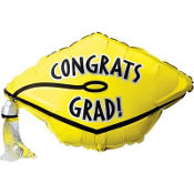 Foil Yellow Graduation Cap Balloon 18in