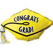 Foil Yellow Graduation Cap Balloon