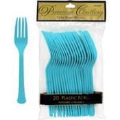 Caribbean Blue Premium Plastic Forks 20ct