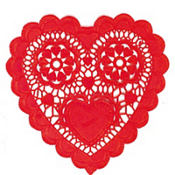 Red Heart Shaped Doilies 10in 12ct