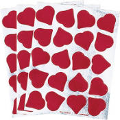 Red Foil Heart Stickers 3 Sheets