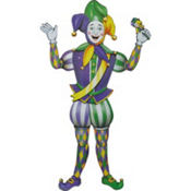 Jointed Mardi Gras Jester Cutout 38in