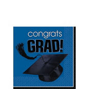 Congrats Grad Royal Blue Graduation Beverage Napkins 36ct
