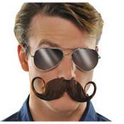 Brown Handlebar Moustache
