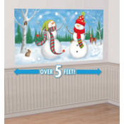 Snowmen Playing Scene Setter 65in