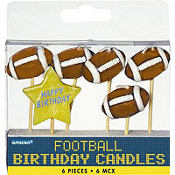 Football Birthday Candles 6ct