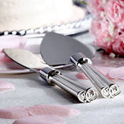 Silver Heart Wedding Cake Server Set