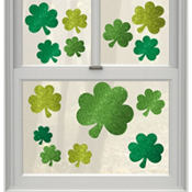St. Patricks Day Lucky Wishes Vinyl Window Decorations 14ct