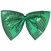 Giant Green Sequin Bow Tie 13in