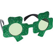Glitter St. Patricks Day Shamrock Sunglasses 5 1/2in