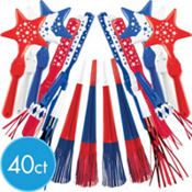 Patriotic Assorted Value Pack Noisemakers 40ct37¢ per piece!