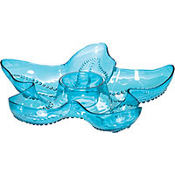 Cool Blue Starfish Plastic Chip & Dip Tray 14in