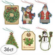 Kraft Tape-On Gift Tags 36ct
