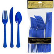 Royal Blue Premium Plastic Cutlery Set 24ct