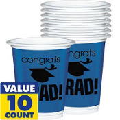 Royal Blue Congrats Grad Plastic Graduation Cups 12oz 10ct
