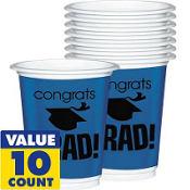 Royal Blue Congrats Grad Plastic Graduation Cups 12oz 10ct