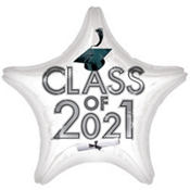 White Class of 2013 Star Graduation Balloon 19in