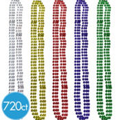Faceted Mardi Gras Bead Necklaces 33in 720ct<span class=messagesale><br><b>7¢ per piece!</b></br></span>