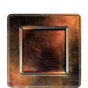 Brown Metallic Square Plastic Charger 12in