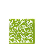 Kiwi Ornamental Scroll Beverage Napkins 16ct