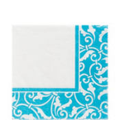 Caribbean Blue Ornamental Scroll Lunch Napkins 16ct