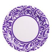 Purple Ornamental Scroll Lunch Plates 8ct