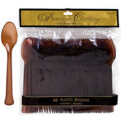 Chocolate Brown Premium Plastic Spoons 48ct