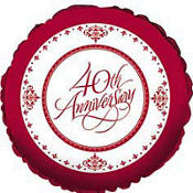 Ruby 40th Anniversary Balloon 18in