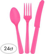 Bright Pink Plastic Cutlery Set 24ct