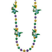 Alligator Mardi Gras Bead Necklace 24in