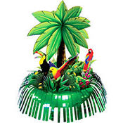 Foil Fringe Palm Tree Centerpiece 13in