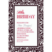 Black Ornamental Scroll Custom Invitation