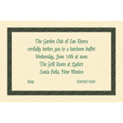 Green Moroccan Border/Ecru Custom Invitation