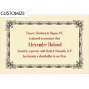 Black Moulding Border/Ecru Custom Invitation