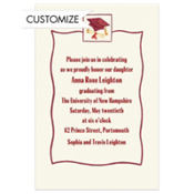 Red Simple Mortarboard Custom Graduation Invitation