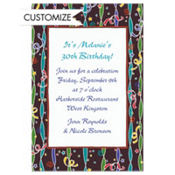 Confetti & Streamer Stripe Custom Invitation