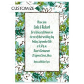 Tossed Stylized Floral Custom Invitation
