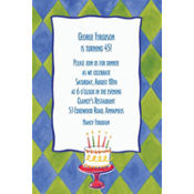 Cake on Diamond Pattern Custom Invitation
