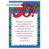 Big 50 Border Custom Invitation