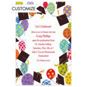 Big Balloons Grad Party Custom Graduation Invitation