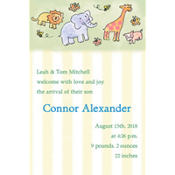 Tossed Animals & Stripe Custom Birth Announcements