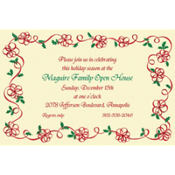 Ribbon Border with Holly Custom Invitation