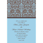 Blue Damask Custom Invitations