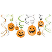 Assorted Pumpkin Hanging Swirl Decorations 12ct