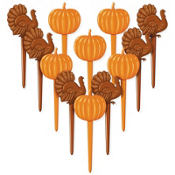Thanksgiving Turkey and Pumpkin Party Picks 12ct