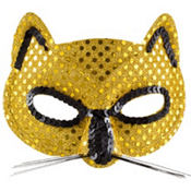 Metallic Yellow Cat Mask