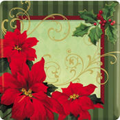 Vintage Poinsettia Square Dinner Plates 18ct