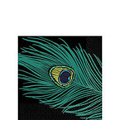 Plum Peacock Beverage Napkins 16ct