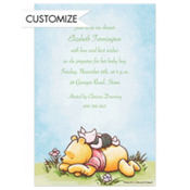 Piglet Napping on Pooh Custom Baby Shower Invitation