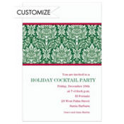 Holiday Damask Green Custom Invitation